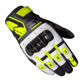 Kožené rukavice G-Carbon SPIDI biele/čierne/žlté fluo