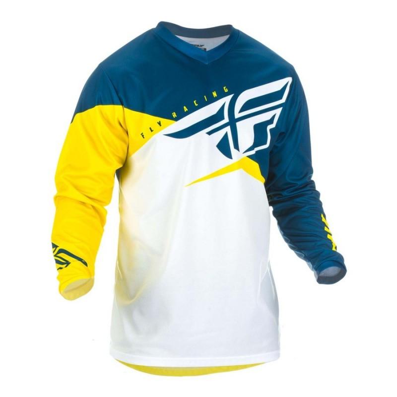 MX dres na motorku Fly Racing F-16 2019 žltá/biela/modrá