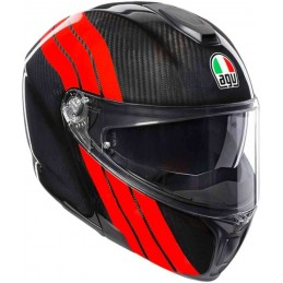 Prilba na motocykel AGV Sportmodular PLK Stripes Carbon