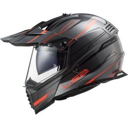 Prilba na motocykel LS2 MX436 Pioneer EVO titanium orange