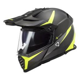 Prilba na motocykel LS2 MX436 Pioneer EVO Router matt black H-V yellow