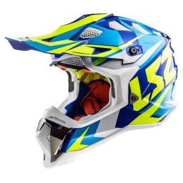 Prilba na motocykel LS2 MX470 Subverter Nimble white blue H-V yellow