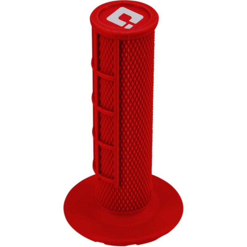 Gripy ODl  MX V2 lock-on Pro Soft s polovičnými mriežkami červené
