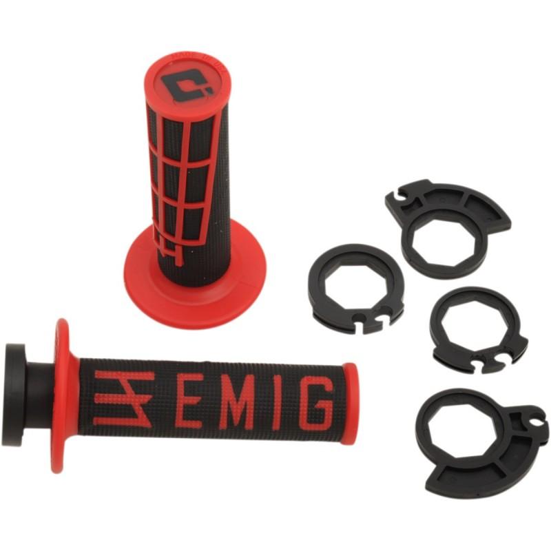 Gripy ODl  EMIG racing V2 s polovičnými mriežkami čierno-červené