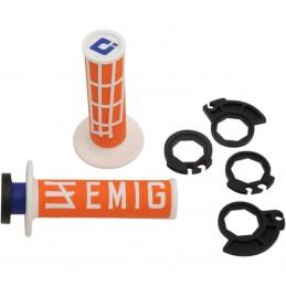 Gripy ODl  EMIG racing V2 s polovičnými mriežkami oranžovo-biele