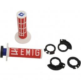 Gripy ODl  EMIG racing V2 s polovičnými mriežkami červeno-biele
