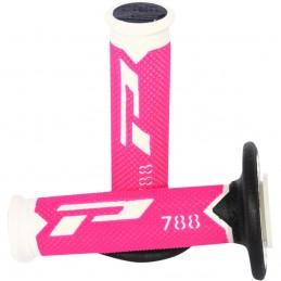 Gripy PRO GRIP triple density offroad 788 s uzavretými koncami bielo-čierno-ružové