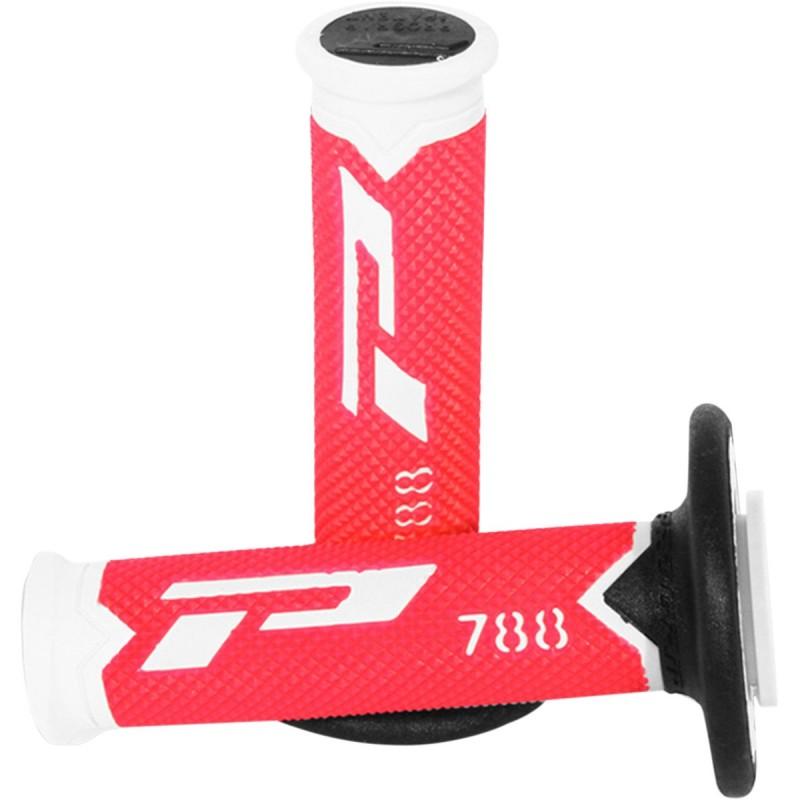 Gripy PRO GRIP triple density offroad 788 s uzavretými koncami bielo-čierno-červené