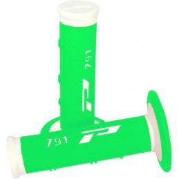 Gripy PRO GRIP double density offroad 791 s uzavretými koncami bielo-zelené