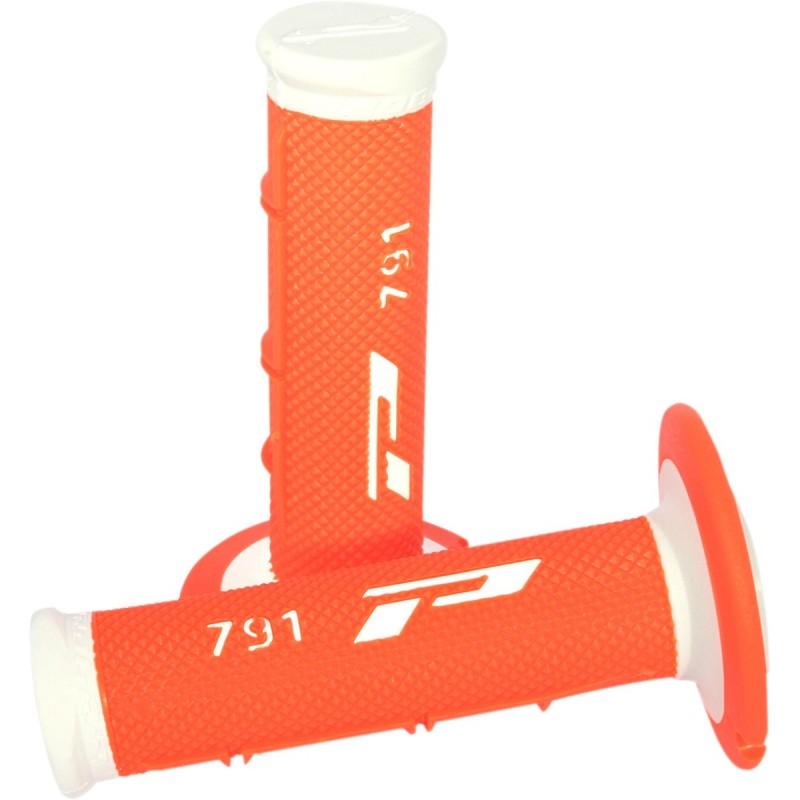 Gripy PRO GRIP double density offroad 791 s uzavretými koncami bielo-oranžové