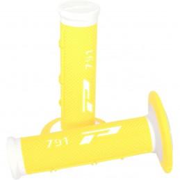 Gripy PRO GRIP double density offroad 791 s uzavretými koncami bielo-žlté