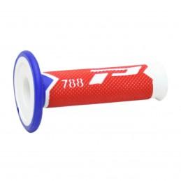 Gripy PRO GRIP triple density offroad  788 so zatvorenými koncami bielo-červeno-modré