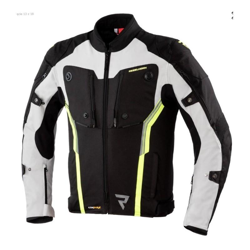 REBELHORN bunda na motorku Borg black/grey/flo yellow