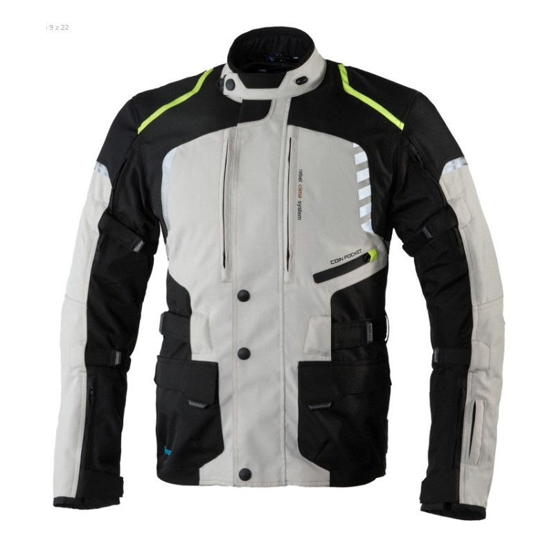 REBELHORN bunda na motorku hiker II čierno-šedo-žltá