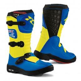 Detské topánky na motocykel TCX Comp Royal blue/yellow fluo