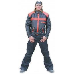 Bunda kožená Bikersmode F-B na chopper čierna/oranžová