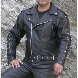 Bunda kožená Bikersmode F-J na chopper čierna