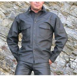 Košeľa kožená Bikersmode čierna