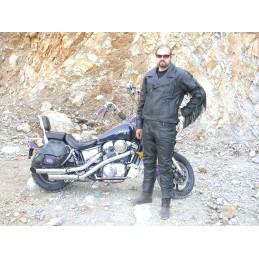 Bunda kožená Bikersmode F-E2 so strapcami čierna