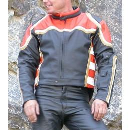 Bunda kožená Bikersmode F-M na chopper čierna/oranžová