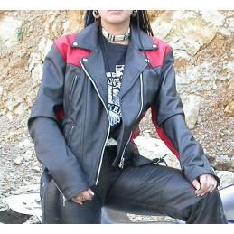 Bunda dámska kožená Bikersmode F-D1 na chopper čierno-červená