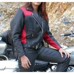 Bunda dámska kožená Bikersmode F-D2 na chopper čierno-červená
