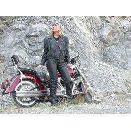 Bunda dámska kožená Bikersmode na chopper čierna