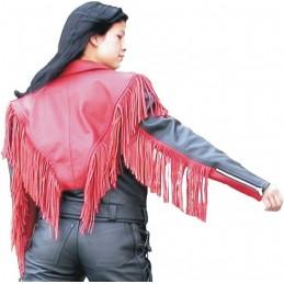 Bunda dámska kožená Bikersmode na chopper čierno-červená
