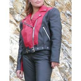 Bunda dámska kožená Bikersmode F-H1 na chopper čierno-červená