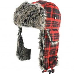 Baranica ZAN HEADGEAR trooper hat gray fur buffalo čierno-červená