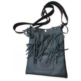 Kožená kabelka/taška BIKERSMODE na doklady čierna