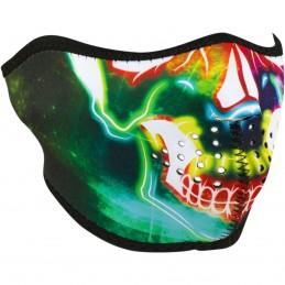 Tvárová maska ZAN HEADGEAR half neon skull čierno-modro-zeleno-červená