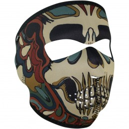 Tvárová maska ZAN HEADGEAR full psychedelic skull čierno-hnedo-zelená