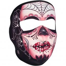 Tvárová maska ZAN HEADGEAR full sugar skull čierno-ružovo-červená