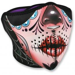 Tvárová maska  ZAN HEADGEAR  half sugar skull čierno-ružovo-červená