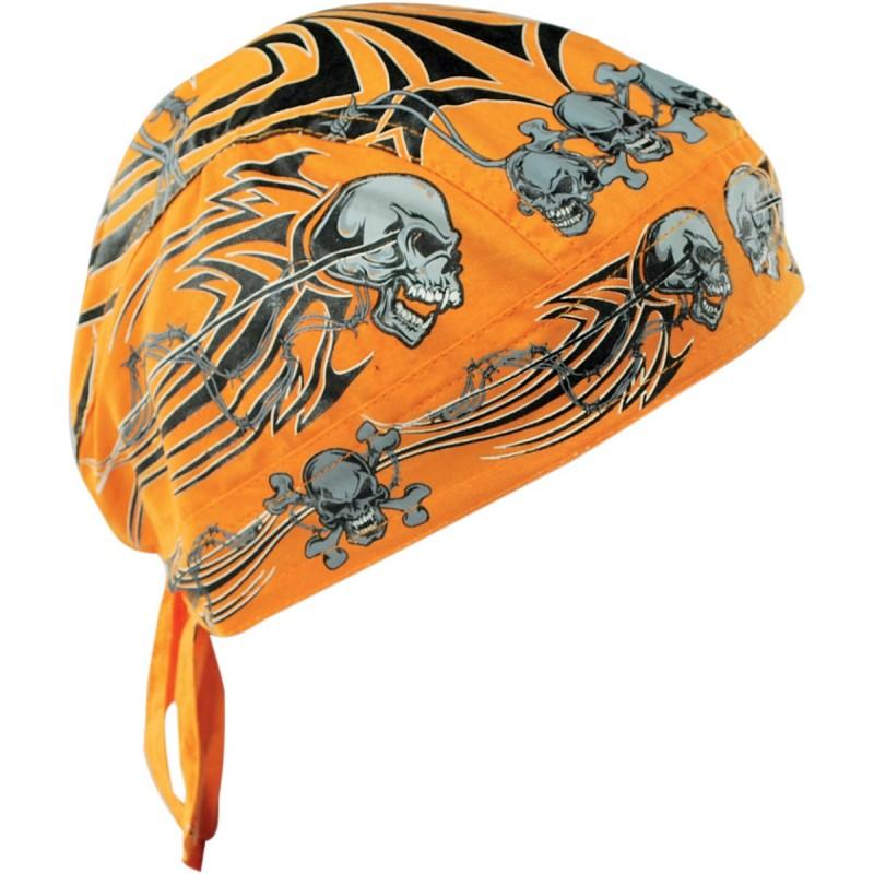 Šatka ZAN HEADGEAR tribal skull čierno-šedo-oranžová