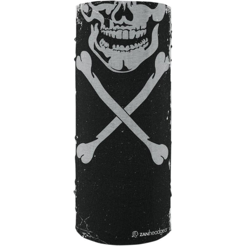 Šatka ZAN HEADGEAR skull xbones  čierno-biela