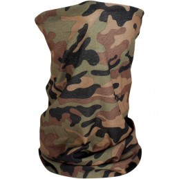 Šatka ZAN HEADGEAR motley tube woodland camo fleece limed čierno-hnedo-zelená