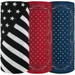 Šatky ZAN HEADGEAR motley tube american 3 pack čierno-modro-červené