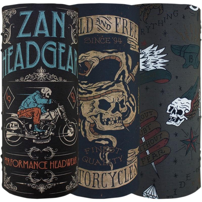 Šatky ZAN HEADGEAR motley tube vintage 3 pack čierno-modro-hnedé