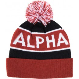 Čiapka Alpha Industries Block Bobble Beanie black/red