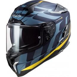 Prilba na motorku LS2 FF327 Challenger CT2 Carbon Flames blue gold