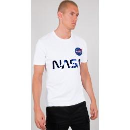 Alpha Industries pánske tričko NASA Reflective white blue