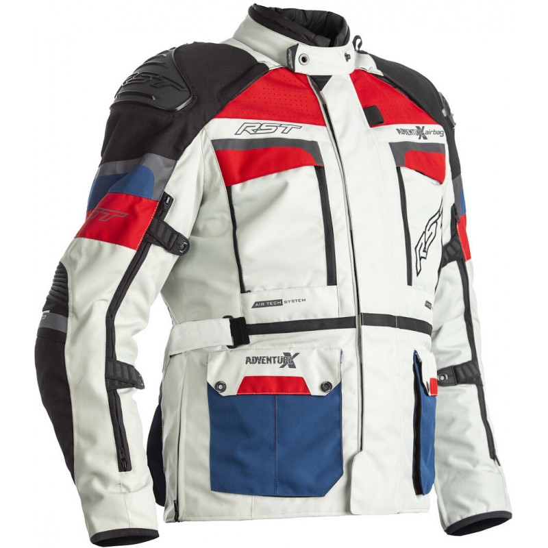 RST bunda na motocykel Adventure-X Airbag white blue red