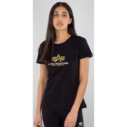 Alpha Industries dámske tričko New Basic Foil black gold