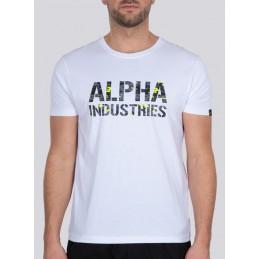 Alpha Industries pánske tričko Camo Print white black
