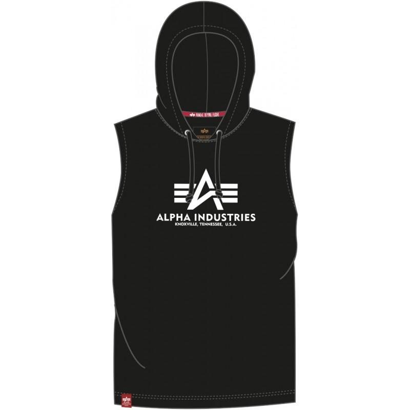 Alpha Industries pánska mikina bez rukávov Basic Hooded black
