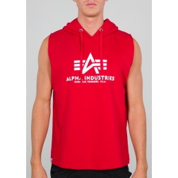 Alpha Industries pánska mikina bez rukávov Basic Hooded red