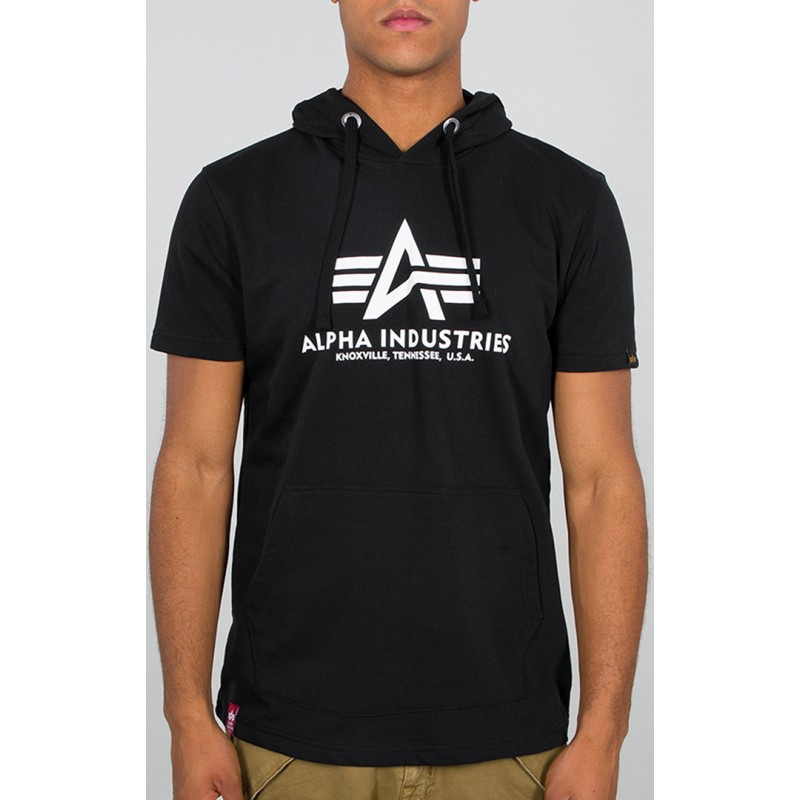 Alpha Industries pánske tričko Basic Hooded black